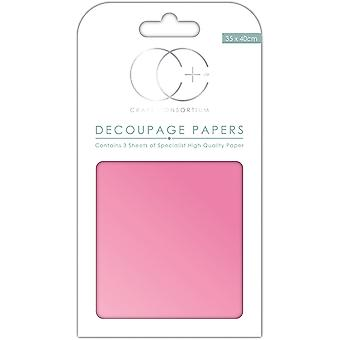"Craft Consortium Decoupage Papers 13.78""X15.75"" 3/Pkg-Pearlescent Pink"