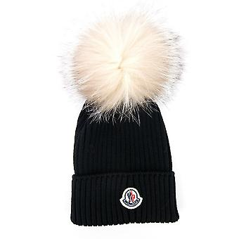 Moncler Junior Berretto Pom Pom Wool Hat Black 999