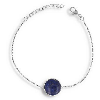 ADEN 925 Sterling Silber Lapis Lazuli Runde Form Armband (id 4437)