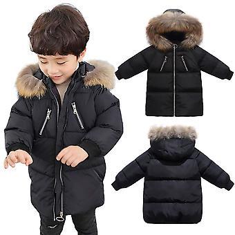 Kids Unisex Down Bubble Parka Winter Coat With Removable Fur Trim Hood - Black