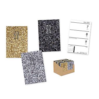 A7 Glitter Week to View Hardcover Diary 2021 Various Colour