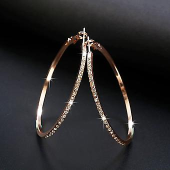 Rose Gold Large Crystal Hoops