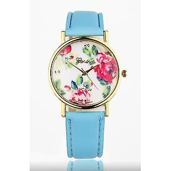 Light blue Women's watch from Geneva flower swarovski crystal leather