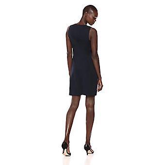 Marque - Lark & Ro Women's Sleeveless Split Neck Shift Dress, Marine, 6