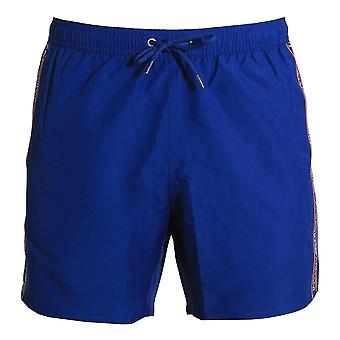 Emporio Armani Bold Logo Tape Swim Shorts, Cobalt Blue, Small (48)