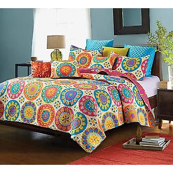 2PC Suri Printed King/Queen Size Polyester Quilt Set With 2 Shams