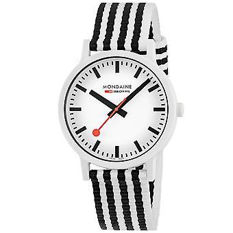 Mondaine Essence Quartz White Dial Black and White Textile Strap Watch MS1.41110.LA