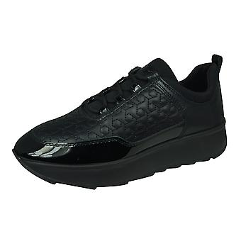 Geox D Gendry C Womens Nappa Leather Trainers - Black