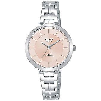 Pulsar señoras pulsera de acero inoxidable solar rosa dial 50M reloj (PY5059X1)