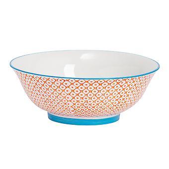 Nicola Spring Hand-Printed Salad Bowl - Japanese Style Porcelain Fruit Pasta Serving Bowls - Orange - 21.5cm