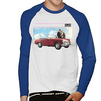 Austin Healey Sprite Mark IV Admired By Couple British Motor Heritage Men's Baseball Long Sleeved T-Shirt