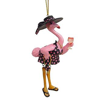 December Diamonds Pink Flamingo Felisha Drinking Wine Christmas Ornament