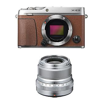 FUJIFILM X-E3 Brown KIT XF 23MM F2R WR Prata