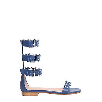 Red Valentino Pq0s0a60sdlc63 Women's Blue Leather Sandals