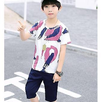 Chlapecký oděvní set, léto, pruh barevné tričko + kalhoty