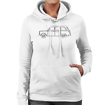 London Taxi Company TX4 Light Outline Women's Hooded Sweatshirt