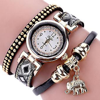 DUOYA XR1889 Fashionable Gold Elephant Ladies Bracelet Watch Leather Strap