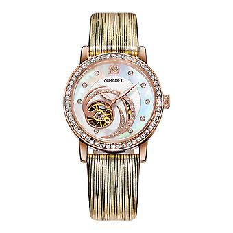 OUBAOER OB2005A Crystal Ladies Automatic Mechanical Watch L'horloge à sangle en cuir