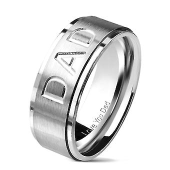 Dad logo stainless steel jewelry ring - silver and black i.p.
