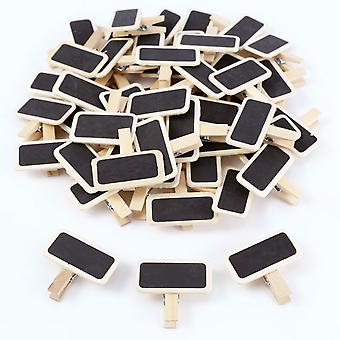 Mini Blackboard Wood Message Slate, Rectangle Clip Panel Card, Memos Label,