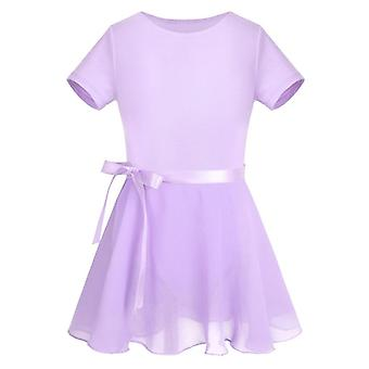 Kids Cotton Sleeve Ballet Dress, Chiffon Ballet Skirt Gymnastics Leotard Set