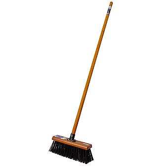 """Charles Bentley Countryman 13"""" Stiff PVC Broom Complete with Wooden Handle"""