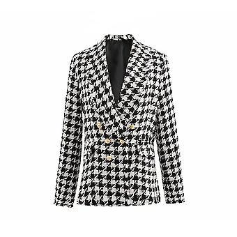 Fashion Office Ladies Black Tassel Houndstooth Vintage Thick Plaid Coat