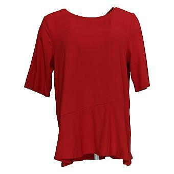 Cuddl Duds Women's Top Flexwear Elbow-Sleeve Asymmetric Peplum Red A346871