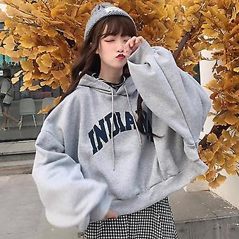 Hoodies Women, Oversize, Thick Velvet, Loose False Two-piece, Letter Print