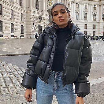 Winter Thick Warm Short Parkas, Women Fashion Pu Leather Coats, Elegante Zipper