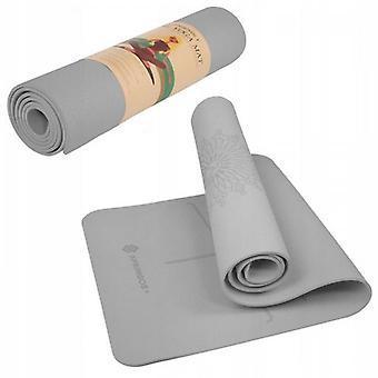 Yogamåtte 183 x 61 x 0,6 cm grå