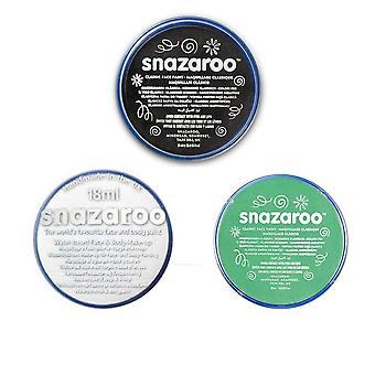 Areema begrenzt drei 18ml Snazaroo Gesicht & Körperfarbe Set (schwarz, weiß, hellgrün) frankenstein,
