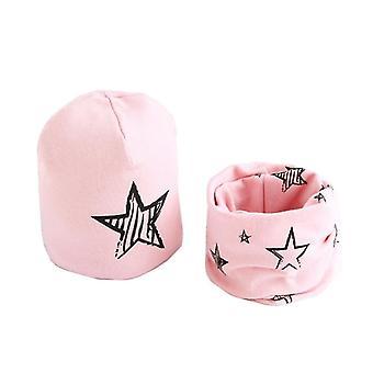 Plush Hat Scarf Set, Stars Print