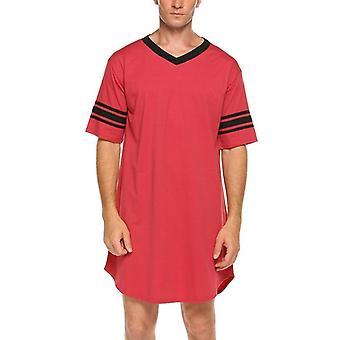 Men Cotton Nightshirt Sleep Tops, Short Sleeve, V-neck, Soft Loose Nightwear,
