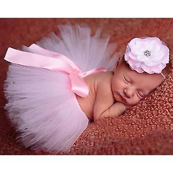 Belle jupe de tutu de chéri avec le bandeau de fleur, accessoire nouveau-né de photographie de mode