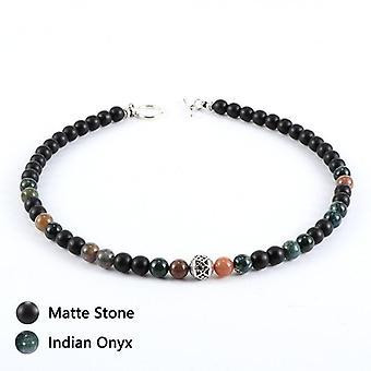Natural Stone Tiger Eye Lava Rock Matte Stone Hematite Beaded Necklace