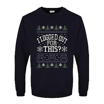 Grindstore Mens I Logged Out For This Christmas Jumper