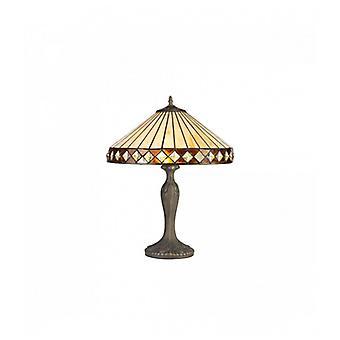 Lámpara De Mesa Tiffany Carole 2 Bombillas ámbar 80 Cm