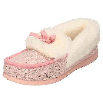 JWF Moccasin Slippers Pink Glitter House Shoes