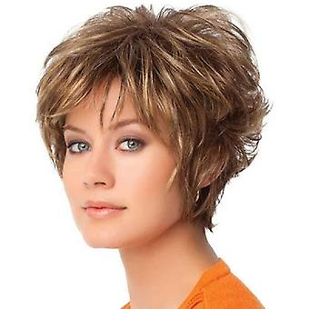 Brand Mall Wigs, Lace Wigs, Realistic Fluffy Short Hair Straight Hair Golden Personality Wig