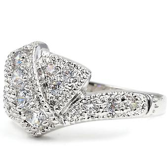 Contemporary Pave Set Asymmetrical Band Fashion Ring