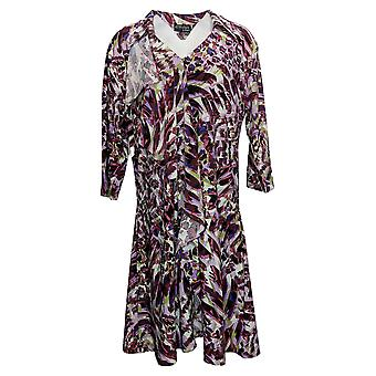 Attitudes by Renee Women's Top Cascade Button Printed Duster Purple A384193