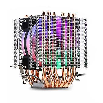 6 Heatpipes Rgb Cpu Cooler Radiator Cooling 3pin 4pin 2 Fan For Intel