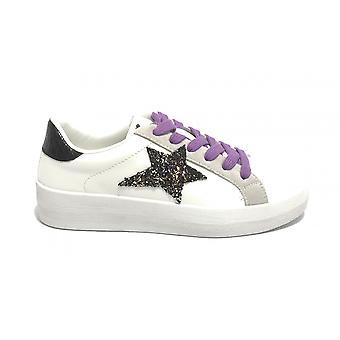 Женская обувь Кроссовки Золото и золото Ecopelle Белый / Черный со звездным блеском Ds21gg10