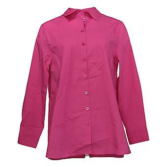 Isaac Mizrahi Live! Camicia frontale top button donna rosa A389680