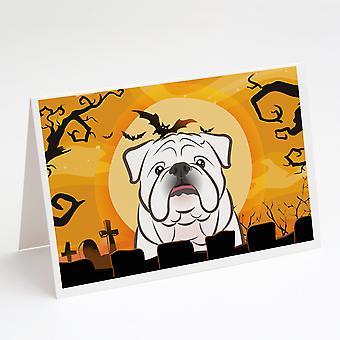 Halloween Valkoinen Englanti Bulldog Onnittelukortit ja kirjekuoret Pakkaus 8