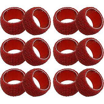 HanFei 12 stuck Glas Perlen Handgemacht Serviettenring-Set Weihnachten Dekoration fr estisch (Rot)