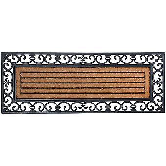 HanFei Schmutzfangmatte, Fumatte in schwarz aus Gummi, mit Kokos-Einlage, rechteckig, extra breit,