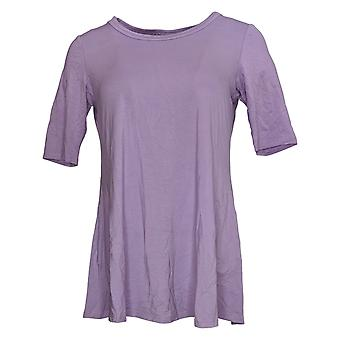 LOGO by Lori Goldstein Women's Top Elbow-Sleeve Swing Purple A379902