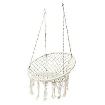 Krzesło wiszące plecione z frędzlami - 60 cm - Kremowy kolor